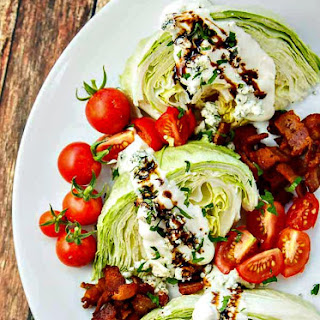 Wedge Salad with Bacon, Blue Cheese and Balsamic.