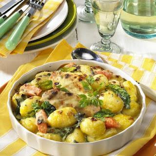 Potato, Spinach and Gorgonzola Gratin.