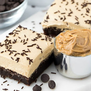Flourless Brownies with Peanut Butter Frosting.