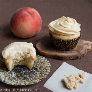 White Peach Cupcakes with Brown Sugar Frosting.