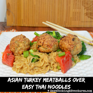 Asian Turkey Meatballs over Easy Thai Noodles