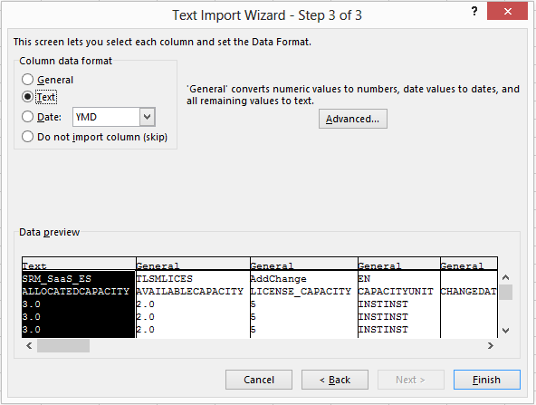 Excel text import wizard, step three.