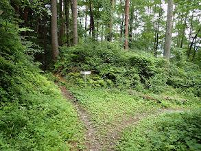 林道は右に(左の駐車場方面へ)