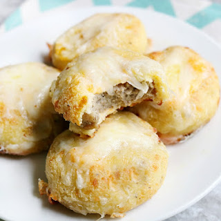 Keto Breakfast Biscuits Stuffed with Sausage and Cheese.