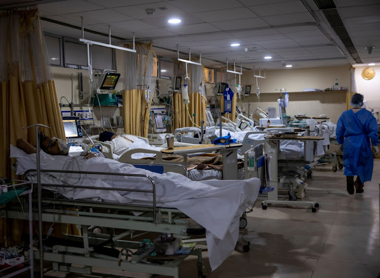 Patients suffering from the coronavirus disease are seen inside the ICU ward at Holy Family Hospital in New Delhi, India, on April 29, 2021. Picture: REUTERS/DANISH SIDDIQUI