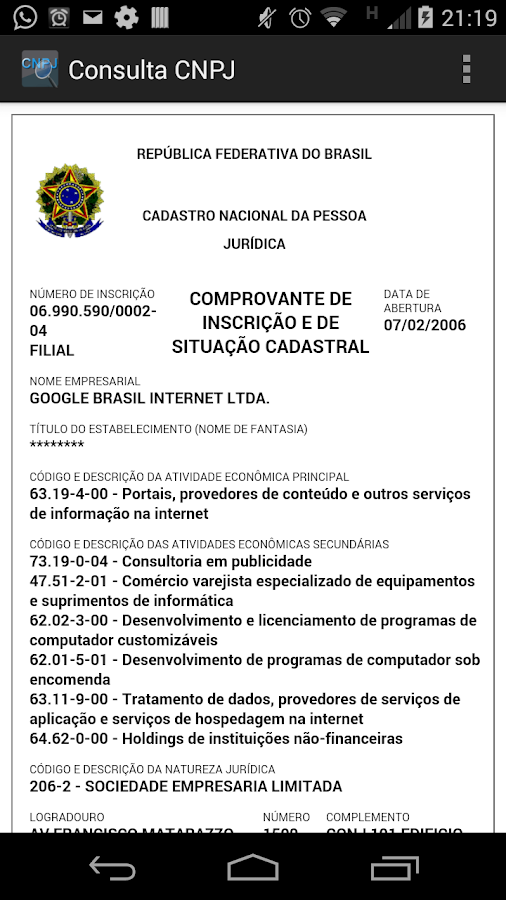 Consulta CNPJ- screenshot