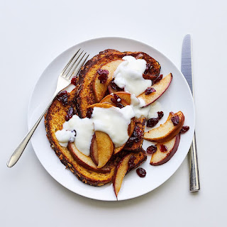 French Toast with Sautéed Pears and Cranberries.