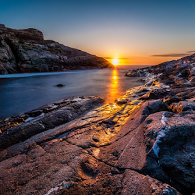 Sunset at North sea, Norway by Paulius Bruzdeilynas - Landscapes Waterscapes ( calm, bergen, water, north sea, mountain, relax, cliff, stone, sea, rock, sotra, relaxing, sun, norway, island, norwegian, sunset, sunny, sundown, weather, norge, tranquil, tranquility,  )