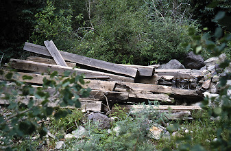 Photo: 99-06-25:  Neatly stacked timbers from the long gone Butterfly Trestle (Bridge 44-A).  This very high trestle once crossed the Lake Fork of the San Miguel River which is just behind the pile.  Somebody apparently thought they were worth saving at one time.  They seem to be cut to about the same length.