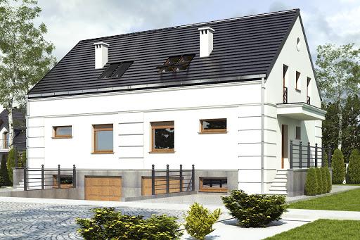 projekt Grab z garażem 1-st. bliźniak A-BL1