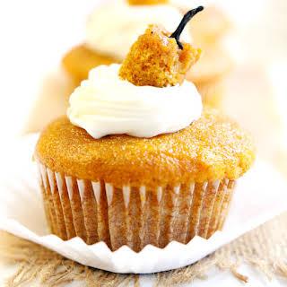 Cream Cheese Filled Pumpkin Cupcakes.