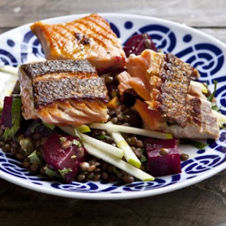 Lentil Salad With Beetroot, Apple And Grilled Salmon
