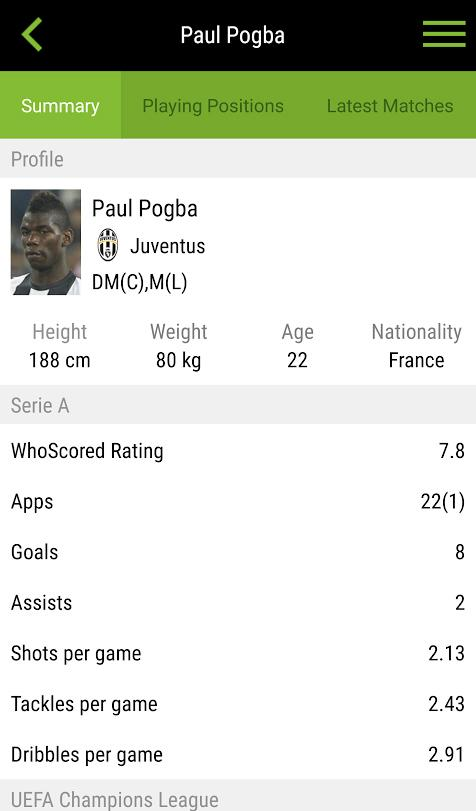 WhoScored Football App- screenshot