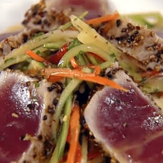Charred Rare Tuna with Radish Salad and Soy-Ginger Vinaigrette.