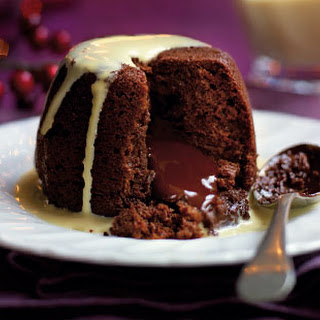 Chocolate puds with Baileys sauce.