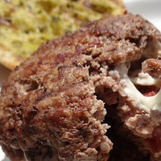 Bruschetta Stuffed Burgers with Pesto Grilled Cibatta Rolls