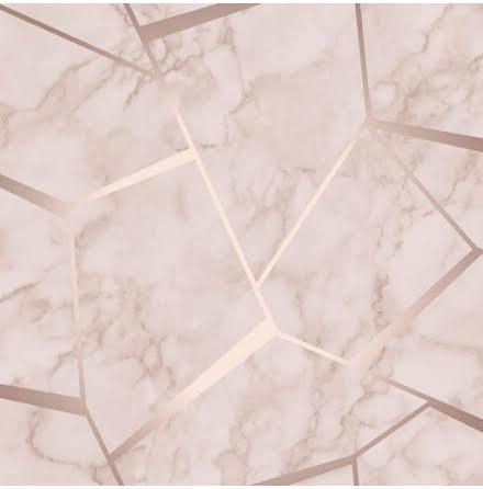 Tapet Marmor med grafiska metalliska detaljer FD42264 - Rosa/roseguld