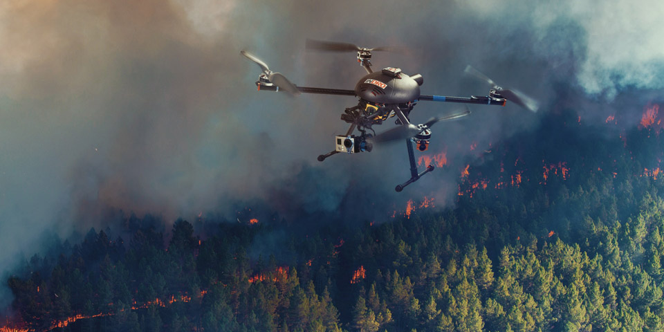 search and rescue drone in forest fire