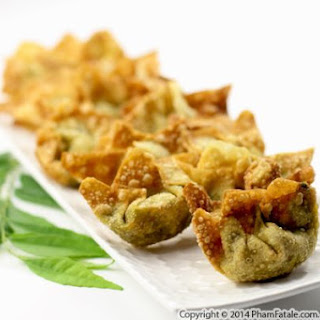 Indian-Inspired Vegetarian Wonton Appetizer.
