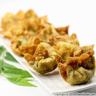 Indian-Inspired Vegetarian Wonton Appetizer.