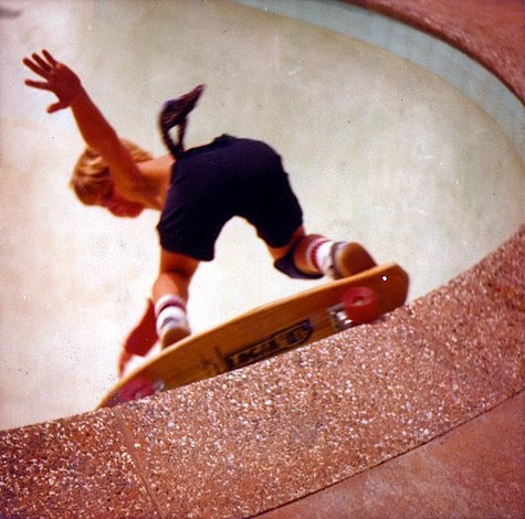Photo: Eric grinding some coping at the very young age of 10 at the Montebello Pool!