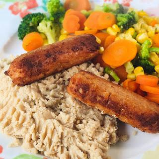 Veggie Sausages & Butter Bean Mash.
