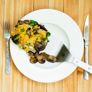 Cheesy Broccoli and Mushroom Casserole with Rice