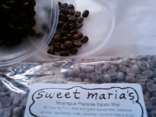 www.RickNakama.com Home Coffee Roasting - Sweet Maria's Nicaragua Placeras Estate Miel - At City+ to Full City+ Malt and grain sweetness, beeswax aroma, raw honey, nuts, caramel, medium-heavy body.