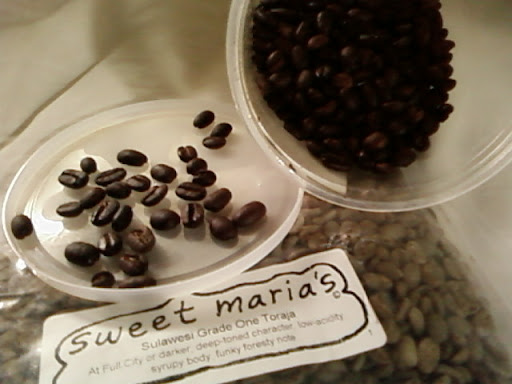 www.RickNakama.com Sweet Maria's Sulawesi Grade One Toraja described as, At Full City or darker; deep-toned character, low-acicity, syrupy body, funky foresty note.