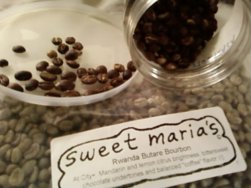 www.RickNakama.com Home Coffee Roasting - Sweet Maria's Rwanda Butare Bourbon described as, at City+ Mandarin and Lemon Citrus brightness, bittersweet chocolate undertones and balanced coffee flavor