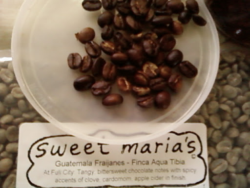 www.RickNakama.com Sweet Maria's Sweet Maria's Guatemala Fraijanes- Finca Aqua Tibia described as: At Full City: Tangy, bittersweet chocolate notes with spicy accents of clove, cardomom, apple cider finish