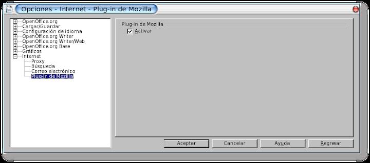 Opciones de Internet, Plug-in de Mozilla, de OpenOffice.org