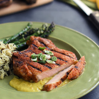 Spiced-Crusted Ribeye Pork Chop with Mango Sauce.