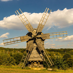 A Windmill by Andrey Dayen - Buildings & Architecture Public & Historical ( clouds, building, sky, ukraine, grass, kiev, summer, architecture, landscape, windmill, country,  )
