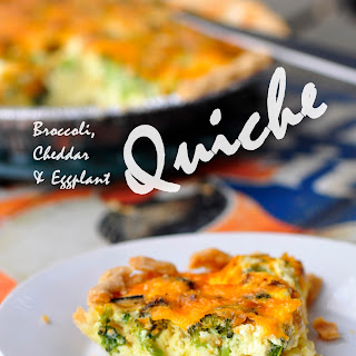 Broccoli, Cheddar and Eggplant Quiche
