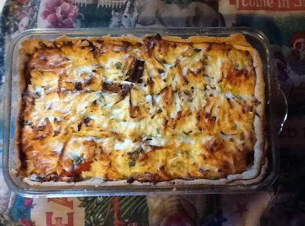 You Can Also Add Some Black Olives. I Used A Rectangular Dish Instead Of A Pie Pan. Surprisingly Very Good! My Husband Went Back For 3rds! I Think You Could Freeze This As Well.