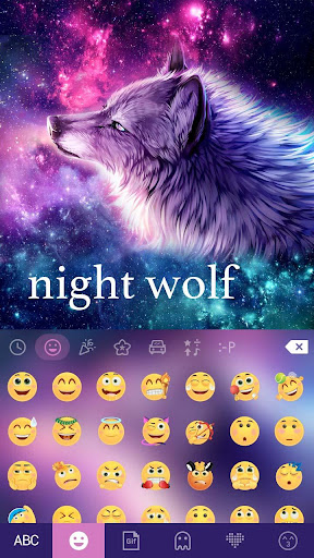 Night Wolf Keyboard Theme - starry phone theme Screenshot