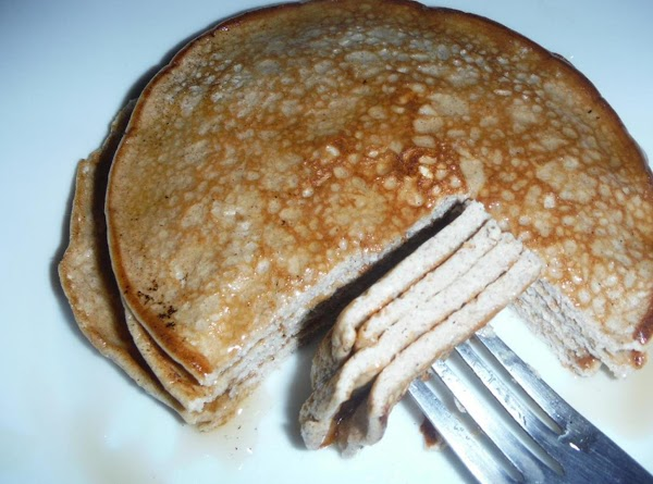 Put all ingredients in the blender and blend.  Makes 4 pancakes this is...