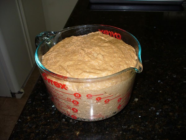 To the water/yeast mixture add the agave, butter and espresso granules to dissolve. Once...