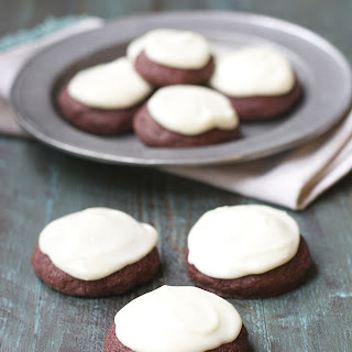 Red Velvet Cookies with Vanilla Cream Cheese Icing {gluten free}