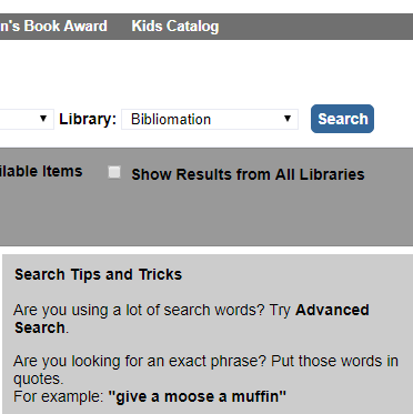 """Next to library, click the drop down box and change it to """"Bibliomation."""""""
