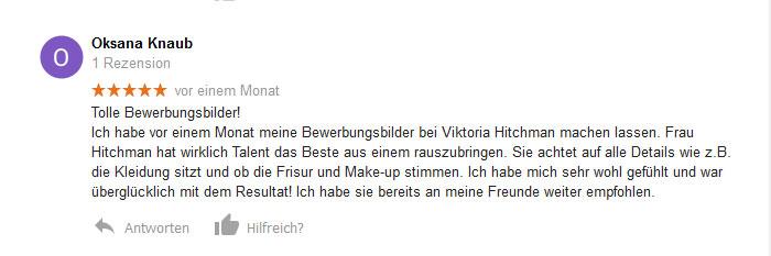 Kundenbewertung für Bewerbungsbilder in Heidelberg.