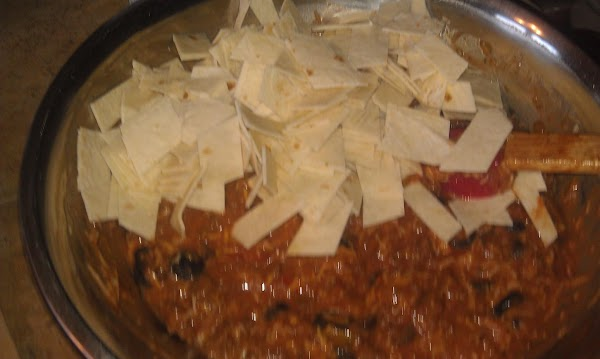 Mix in torilla pieces into soup mix.