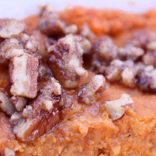 Southern Sweet Potato Casserole with Brown Sugared Pecans.