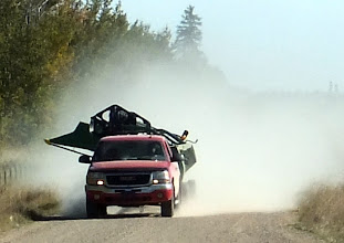 Photo: Always be on the lookout for giant farm equipment etc. when touring the Alberta backroads