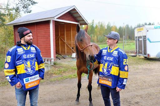 Jukurien Raviliiga-kummipelaajat Hannu Pikkarainen (vas.) ja Janne Kumpulainen ovat mukana Kiekko Jäähän -raveissa 1.10. kuten tietysti myös Tingaling-varsa.