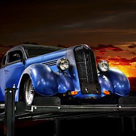 Uplifting by JEFFREY LORBER - Transportation Automobiles ( hot rod, jeffrey lorber, rust 'n chrome, blue car, custom car, classic car, lorberphoto )