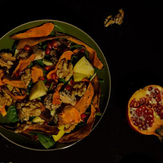 Turkey Salad With Sweet Potato Chips And Autumn Fruits