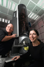 Photo: Professor Wayne Kaplan and student with the Titan microscope, Faculty of Materials Engineering
