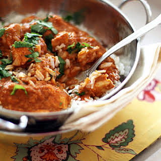 Indian Butter Chicken with Basmati Rice.